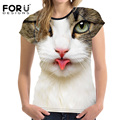 FORUDESIGNS White 3D Cat Women Summer Basic T Shirt Fitness Tee Top Slim Bodybuilding Woman Casual Tops For Ladies Brand Clothes