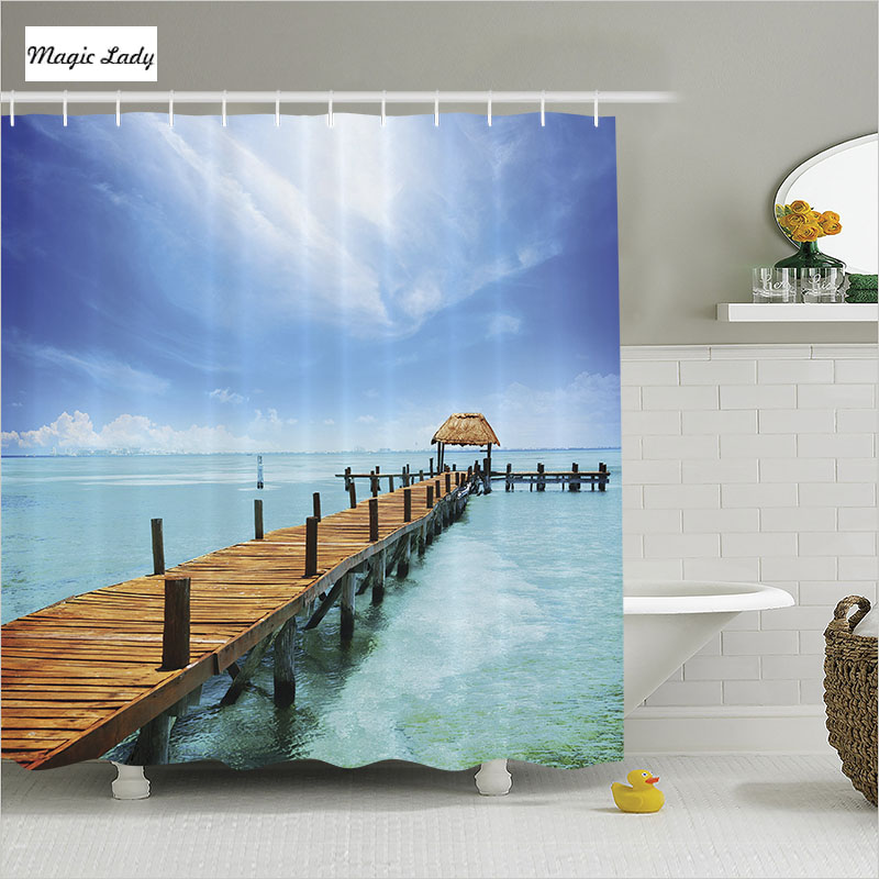 Home Decorators Collection Coupon Free Shipping: Shower Curtain Blue Bathroom Accessories Ocean Decor
