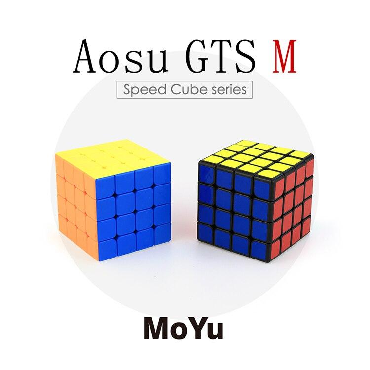 Nouveauté Moyu Aosu GTS M 4x4x4 Cube magique Version magnétique Speedcubing Puzzle jouet pour la compétition-brillant sans bâton, noir