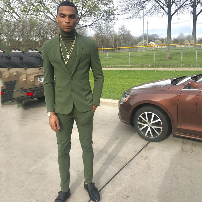 Green Slim Fit Casual Mens Suits 2019 Wedding Tuxedos Groom Wear 3 Pieces (Jacket+Pants+Vest) Fromal Prom Suits Costume Homme