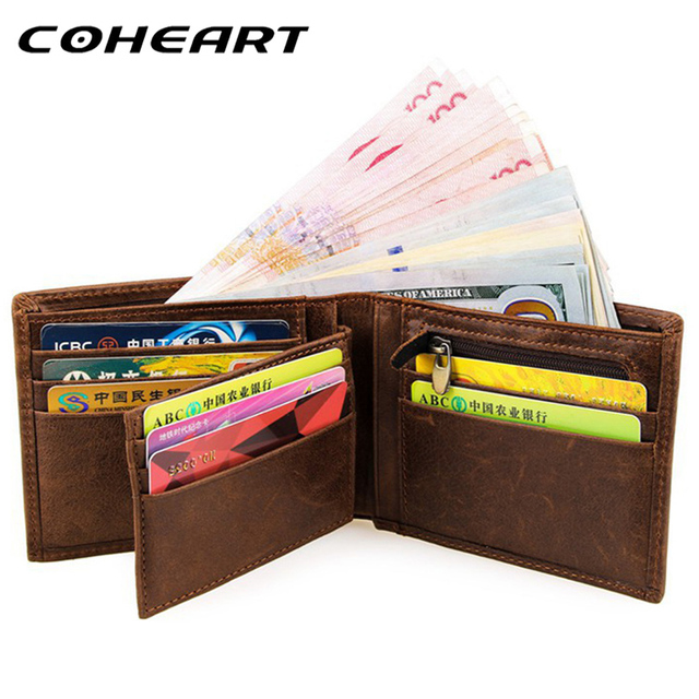 05661a3acd US $11.96 40% OFF|COHEART Brand 100% genuine leather wallet men purses  cowhide wallets vintage quality guarantee Crazy Horse leather wallet Top  !-in ...