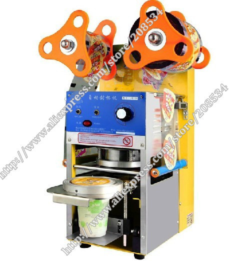 220V Automatic Cup Sealing Machine for food and drink package cup sealer bubble tea cup sealing machine 2014 spring new season dahongpao tea big red robe 80g can good organic drink for world cup watchers refresh and stimulate