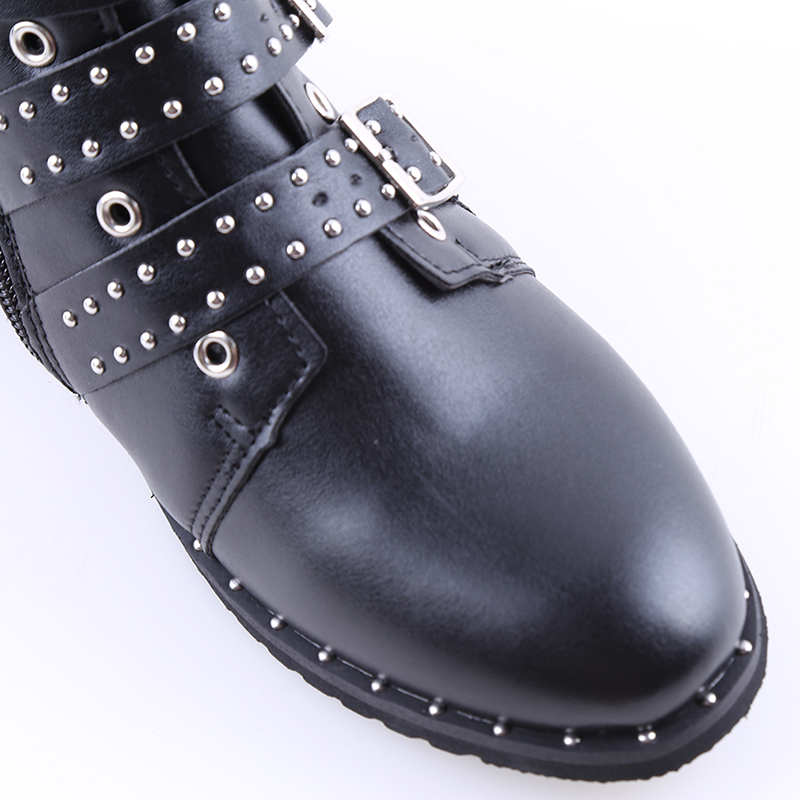 De Tachonado Black Moda 2018 Señoras 43 Negro Botas Top Botines Planas Pu Zapatos serpentine High Las Invierno La Martin Cuero Mujeres Librar xpwFqI