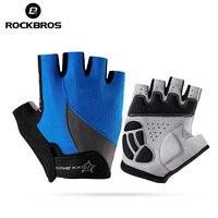ROCKBROS Открытый Бег походные перчатки анти-скольжение анти-пот мужчины женщины половина пальцев перчатки Дышащие анти-шок спортивные перчат...