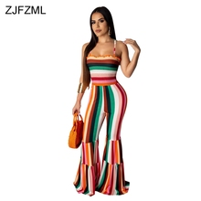 Rainbow Striped Sexy Bodycon Jumpsuits For Women Spaghetti Strap Backless Flare Romper Summer Sleeveless One Piece Party Overall