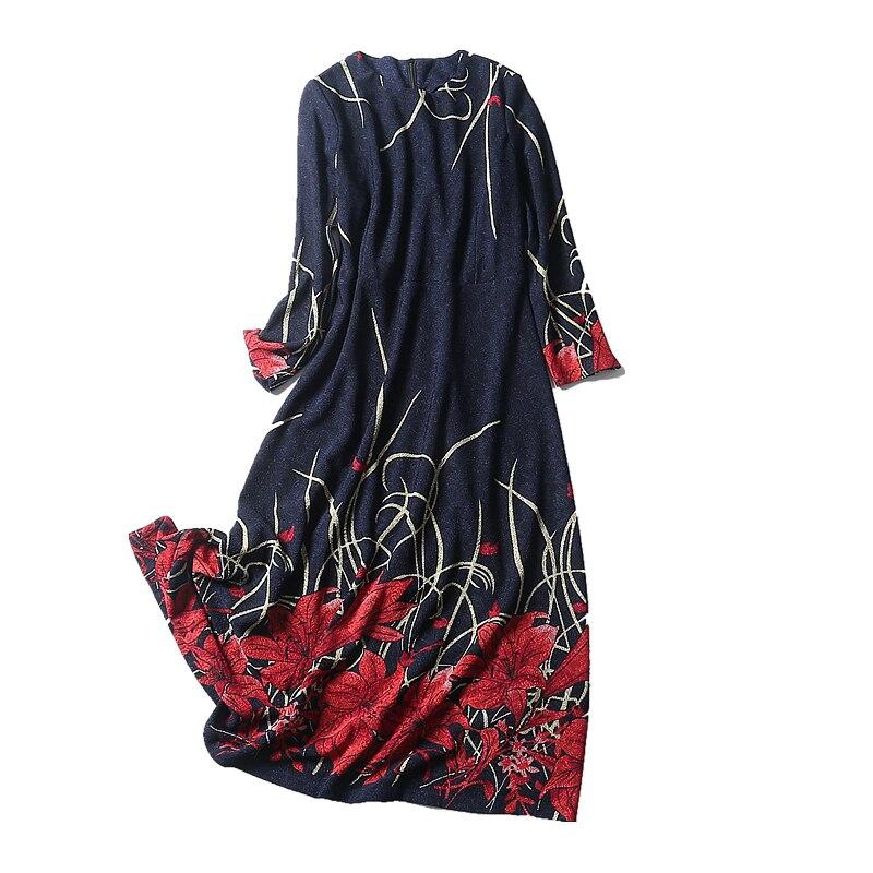 O Complète Mode 2018 Casual Imprimer Genou Nouveau cou L Manches Samgpilee ligne 3xl Robes Femmes Blue Appliques longueur Naturel Hiver A F1S016