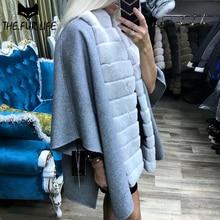 Full Pelt Rex Rabbit Fur Coats Cashmere Woollen Shawl Fur Cape Real Fur Coat & Jackets For Women Winter Tops Fashion Overcoats