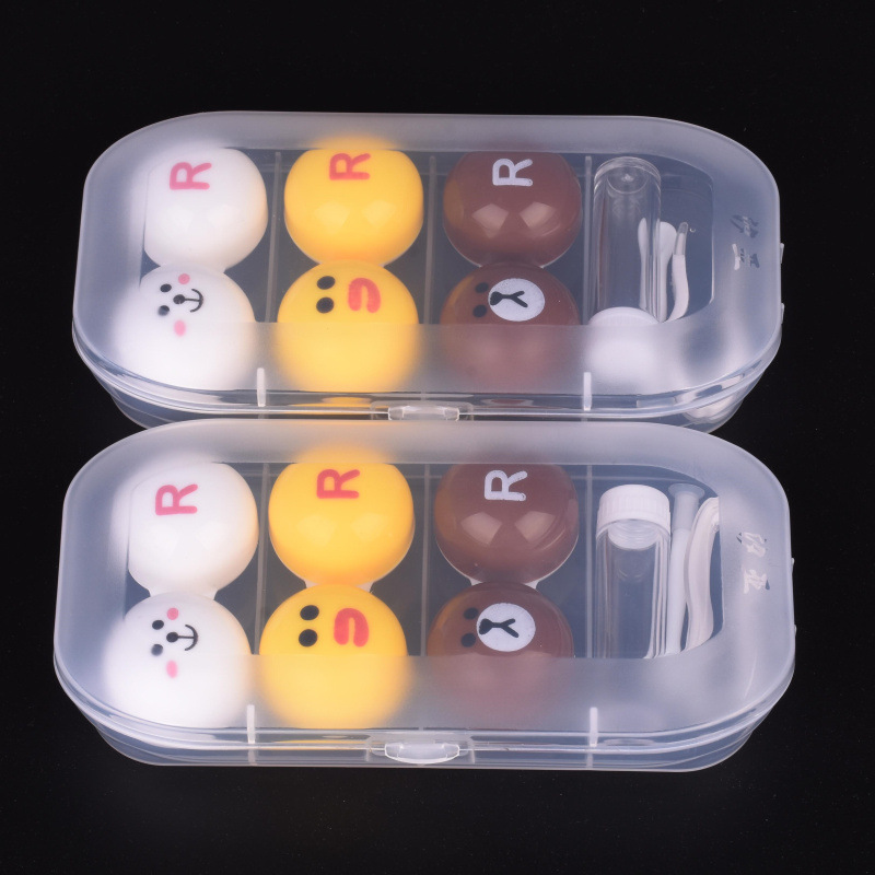 Cute Contact Lens Case Kit 3 Pairs Travel Lenses Box Set Lovely Contact Lens Case Holder Container