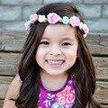 Retail Nuevo Bebé boho diademas Infantil Lindo Rose Venda de La Flor Recién Nacido accesorios de Fotografía Niñas accesorios para el Cabello envío de la gota