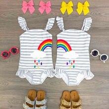 Летний комплект Радужное бикини для маленьких девочек, купальный костюм, купальный костюм