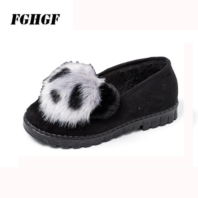 New autumn and winter shoes for women Woollen and velvet bean shoes Korean version of rabbit hair shoes plus cotton single shoes