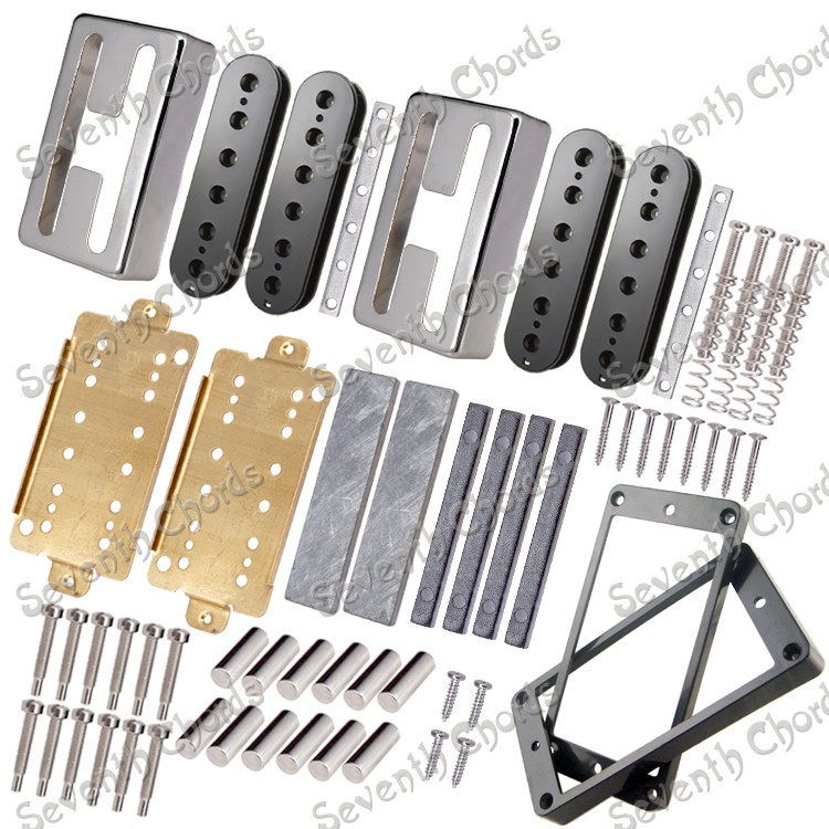 full set h shape copper cover electric guitar twin coils pickup making accessories magnet iron. Black Bedroom Furniture Sets. Home Design Ideas