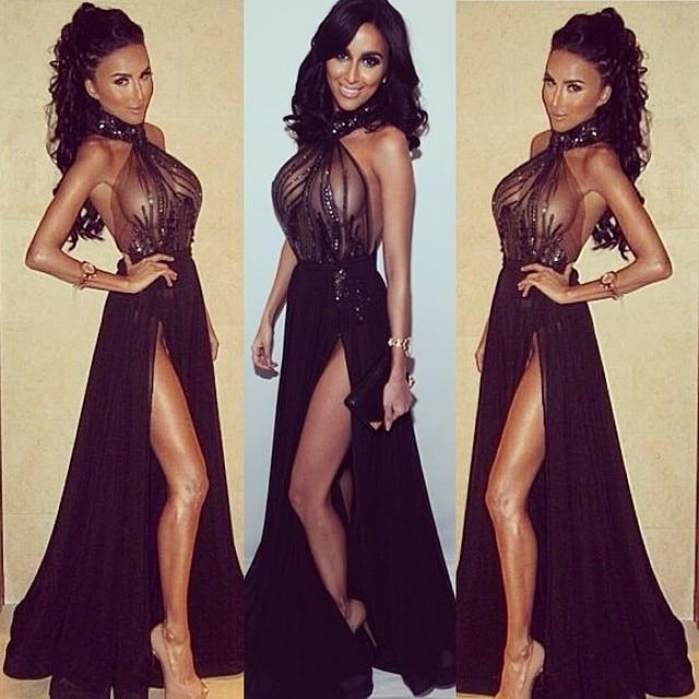 e314f35497 Sexy Halter Backless Beaded Side Slit Black See Trough Long Evening Prom  Dress 2014 Vestido De