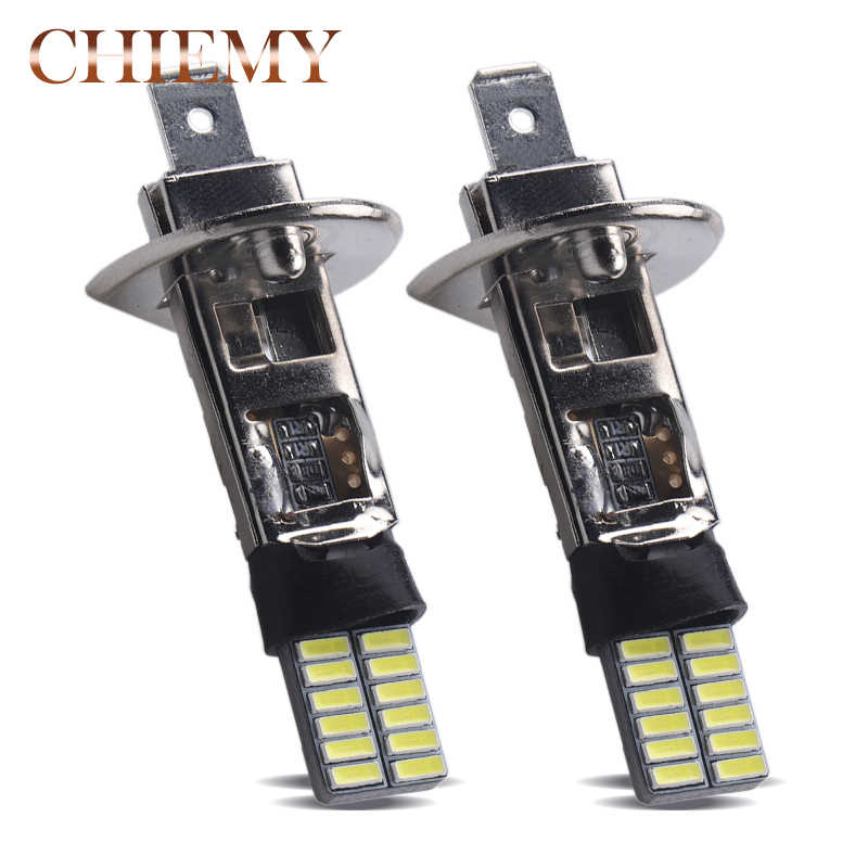 H1 24 Chips 4014SMD White Beam Signal Driving LED Bulb Lamp Auto car led bulbs Car Light Source parking 12V 6000K Head Fog Lamps