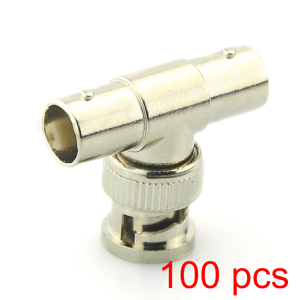 100x BNC T Adapter Splitter Connector Coupler 1 Male to 2 Female CCTV Jack Plug universal bnc male to 2 female t shaped splitter converter for silver