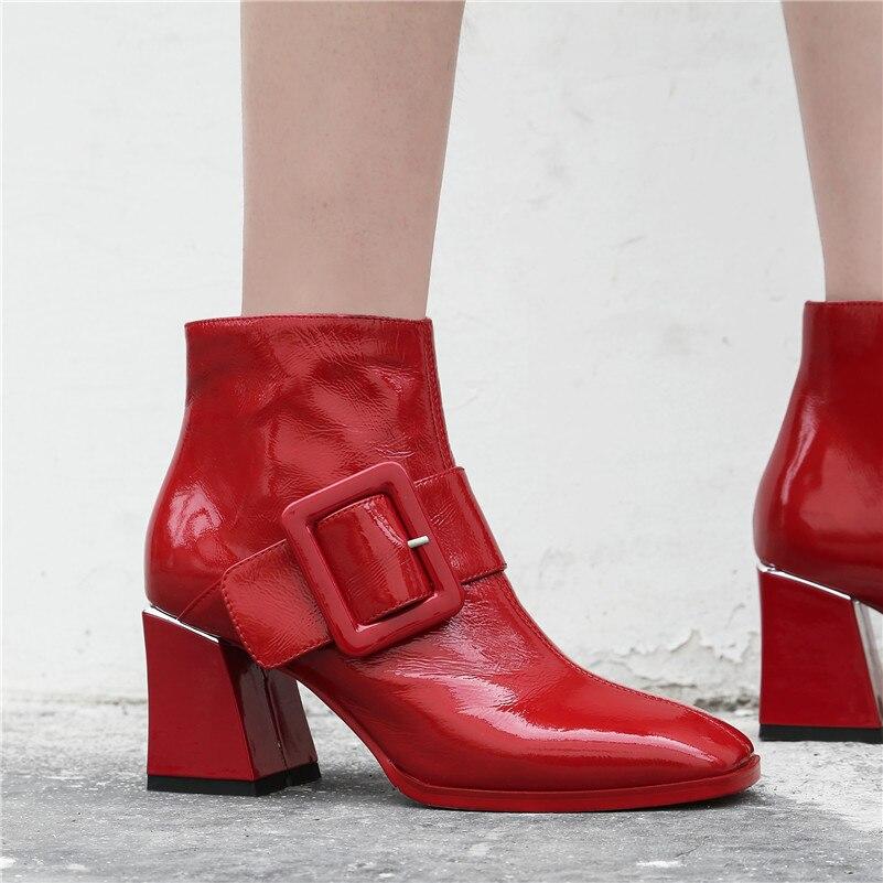 Hauts Cheville Chaussures Danse Bal En Boucle Talons De Cuir rouge Parti Noir Mode Femmes Conasco Hiver Pompes Véritable Femme Bottes Automne gEqBO8wz