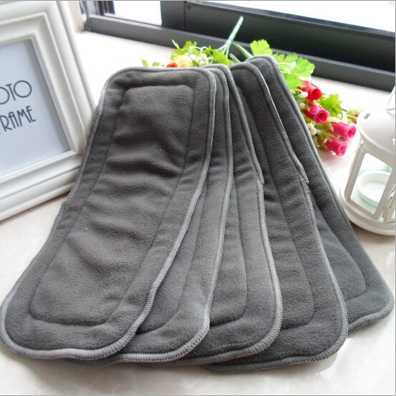Baby Bamboo Reusable Cloth Diaper Inserts Charcoal Washable Nappy Liners 4 Layers Changing Liners For Nappy Cover Cloth Diaper