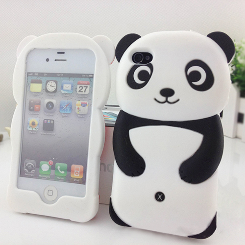 2016 New Cute 3D Panda Soft Silicone Protective Back phone Case Cover Skin For iPhone 4 4S 5 5S 57GX