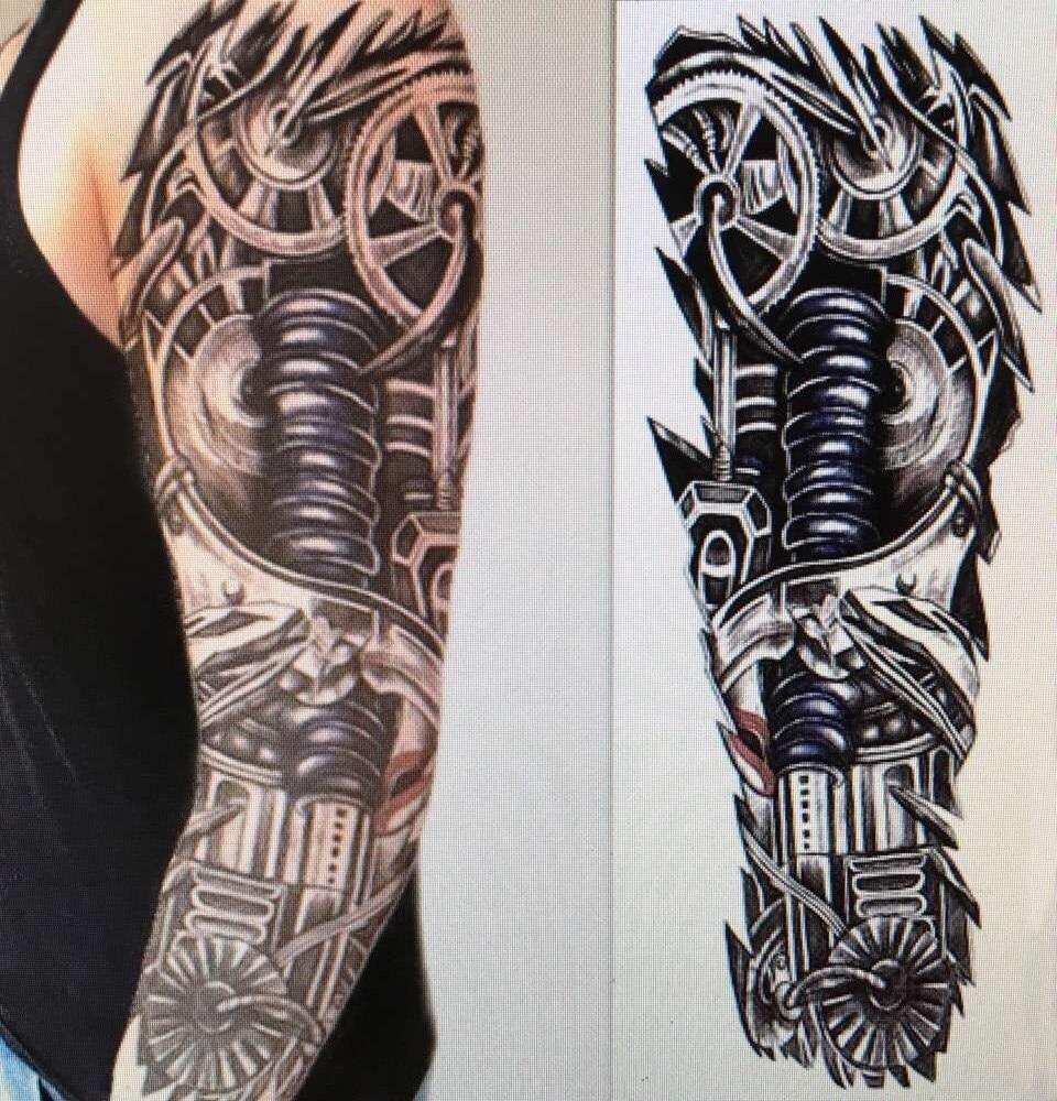 ჱbesar Palsu Penuh Lengan Temporary Tattoo Stiker Pria Abadi Kuat