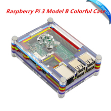 Raspberry Pi 3 Model B Colorful Case Rainbow Cover Transparent Shell Acrylic Enclosure Box Compatible GPIO TF card Interface