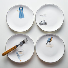 8 Inch Round Ceramic Plate Nordic Brief Porcelain Glaze Dinner Europe Style Steak Cake Dessert Tray Snack Dishes