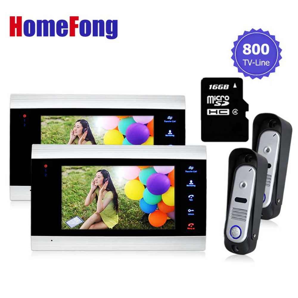 Homefong  Wired 7 Video Door Phone Record intercom System kit  Access  IR Night vision Camera+800TVL Analog Camera 16GB SD Card
