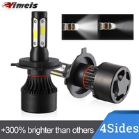 Yimeis 2PCS/Pair Car LED Headlight Kit 100W DOB 4 Sides H4 H7 H8 H9 H11 9005 9006 HB2 HB3 HB4 Hi/low Beams 12V 6500V IP65 Blubs