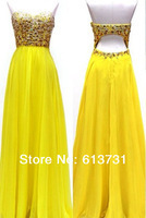 2014 New Fashion Elegant Chiffon Sweetheart Beaded Crystal Floor Length Evening Dresses Long Yellow Prom Dresses With Open Back