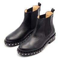 2017 г., большие размеры, ботинки «Челси» с круглым носком удобные короткие ботиночки с заклепками, без шнуровки черные уличные ботильоны, муж