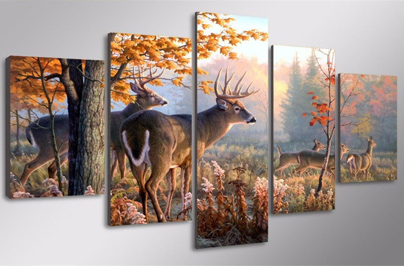 5-Pieces-Canvas-Art-Wall-Painting-Decorative-Animal-Deer-Modular-Picture-For-Living-Room-Home-Decor (1)