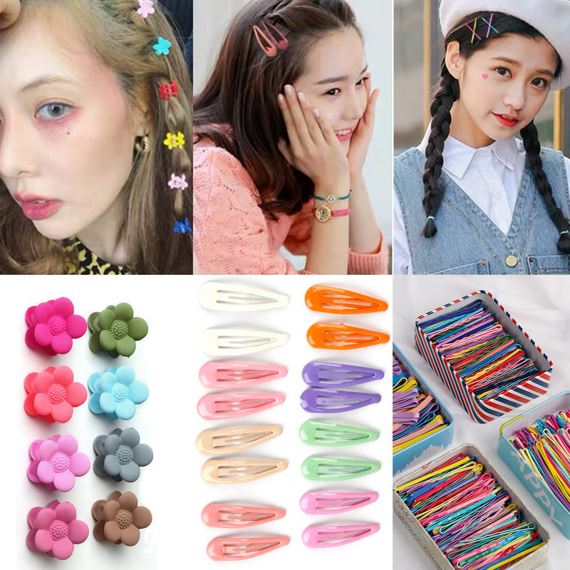 Clip Hairpin Hair-Accessories Paint Flower Snap Rainbow BB Candy Cute Gradient-Color