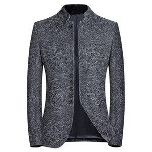 Весенний Новый брендовый блейзер для мужчин в китайском стиле, деловой Повседневный блейзер с воротником-стойкой, пиджак, серый приталенны...