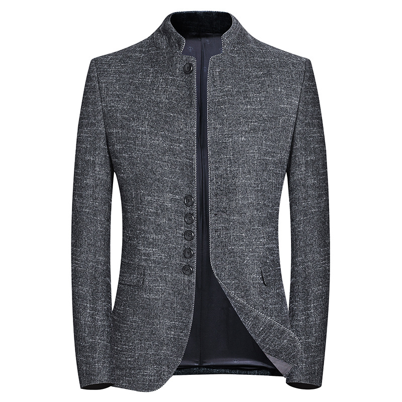 Spring New Brand Blazer Men Chinese Style Business Casual Stand Collar Blazer Jacket Gray Slim Fit Suit Jackets