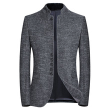 Spring New Brand Blazer Men Chinese Style Business Casual Stand Collar Blazer Jacket