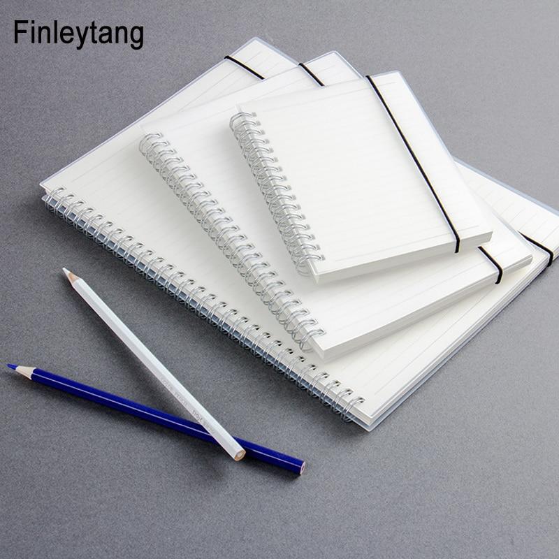 Simple lindo estilo de PP transparente cubierta de plata doble bobina anillo espiral cuaderno diario en blanco punto red línea dentro de papel de A5 A6 B5
