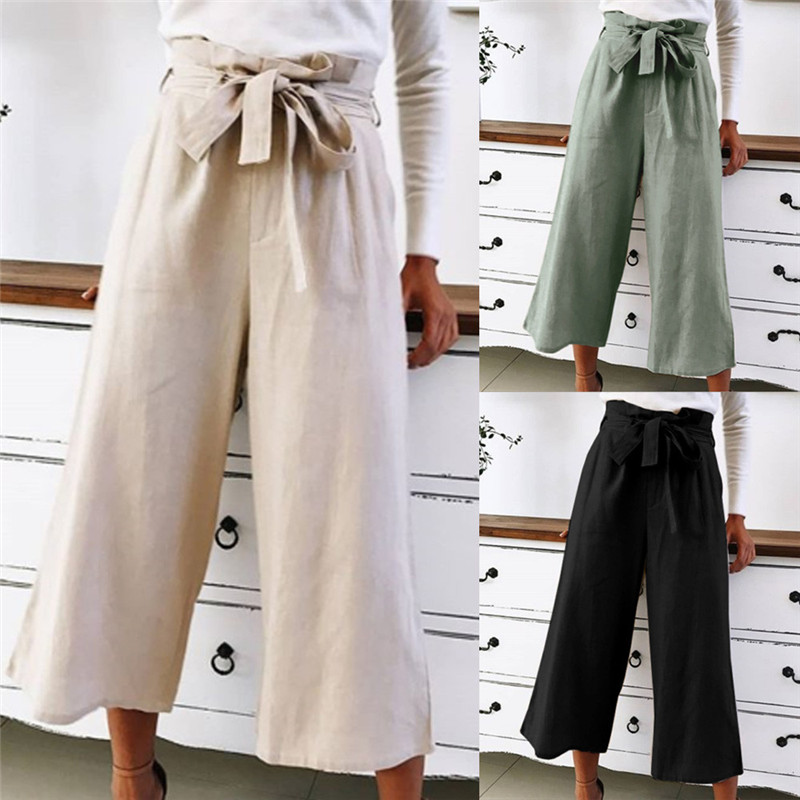 Women Summer Causal Daily High Waist Print Bow Tie Fashion   Wide   Short   Leg     Pants   Harajuku Polyester   Wide     Leg     Pants   #72320