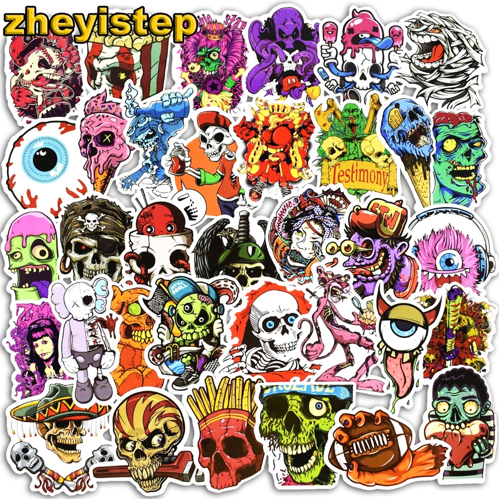 50 Pcs Horror Stickers Graffiti Punk Sticker for Laptop Skateboard Luggage Guitar Motorcycle PVC JDM Waterproof Terror Stickers musiclily 3ply pvc outline pickguard for fenderstrat st guitar custom