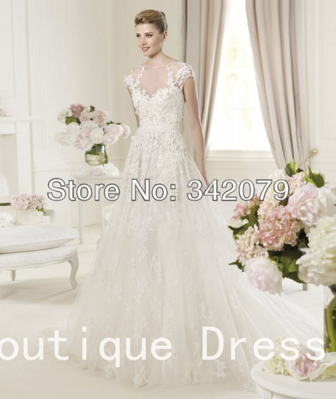 ph11714 2014 elie saab custom made cap sleeve lace applique wedding gown weddings 2013 dresses