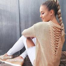 Свитер 2017, женская обувь зимний свитер джемпер с длинными рукавами женские свободные свитера сексуальные открытые сзади Женский пуловер WS888C