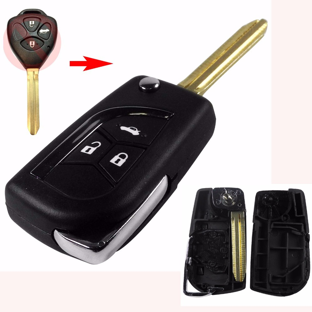 jingyuqin Modified Folding 2015 3 Buttons Remote Uncut Black Flip Key Shell Without Battery For Toyota Scion Without logo
