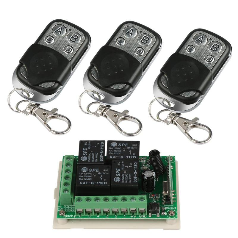 433Mhz Universal 12V 4CH Relay Wireless Remote Control Switch Receiver Learning Code 1527 Module 3pcs RF 433Mhz Transmitter Kit 433mhz wireless remote control switch dc12v 4ch superheterodyne relay receiver module with rf transmitter 433 mhz remote control