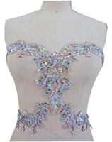 zbroh New clear AB colour pure handmade sew on rhinestones applique 34*30cm crystals patches for dress DIY accessories