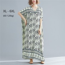 Plus Size 6XL 5XL 4XL Women Beach Dress Summer Sundress Cotton Linen Robe Vestidos Femme Long Print Floral Loose Big