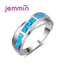 f47df3c3ce4a ¡Jemmin de Plata de Ley 925 joyería fina anillos para las mujeres y los  hombres ópalo de Fuego Azul con X en forma de estilo clá.