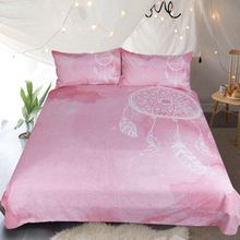 3Pcs Dreamcatcher Pink Bedding Sets Full King Twin Queen Bed Sheet Duvet Cover Set Pillowcase Without Comforter  E