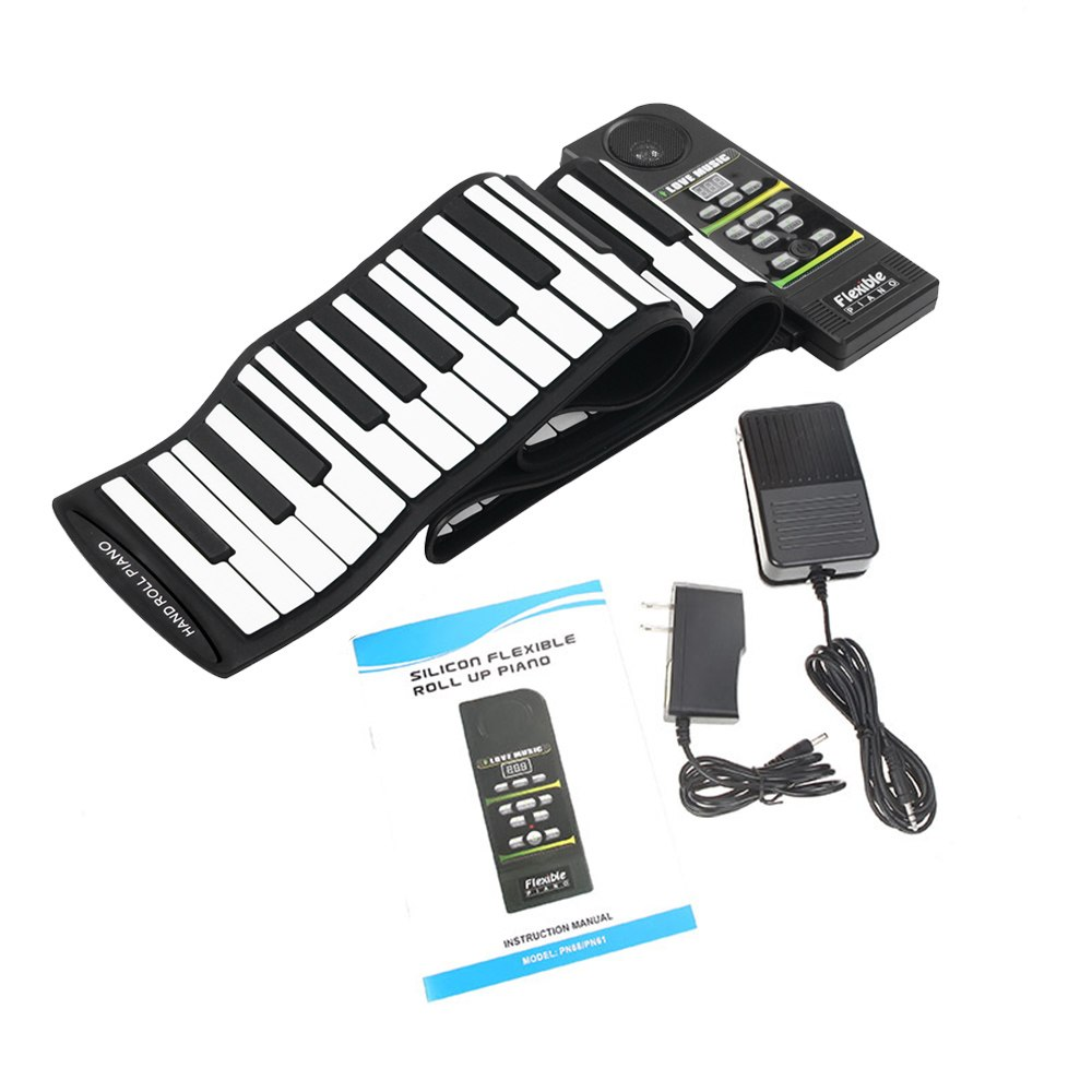 New Flexible Piano 88 Keys Electronic Piano Keyboard Silicon Roll Up Piano Sustain Function USB Port With Loud Speaker(US Plug
