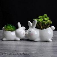 Set von 2 stück Häschen geformten keramik blumentopf Mini Kaninchen porzellan blume pflanze topf für Desktop Home Garten dekoration