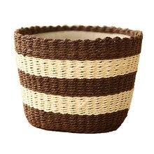 Simple color matching striped storage basket Miscellaneous desktop cabinet storage box storage basket цена 2017
