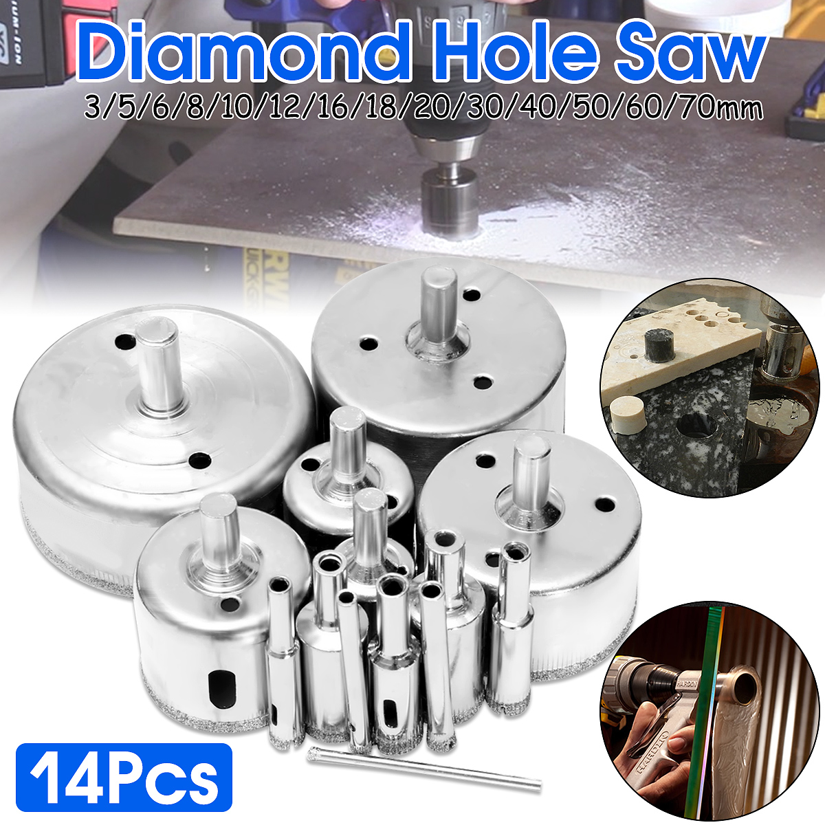 14Pcs/Set 3-70mm Diamond Holesaw Drill Bit Tool for Ceramic Porcelain Glass Marble Diamond Holes Saw Drill Bits14Pcs/Set 3-70mm Diamond Holesaw Drill Bit Tool for Ceramic Porcelain Glass Marble Diamond Holes Saw Drill Bits
