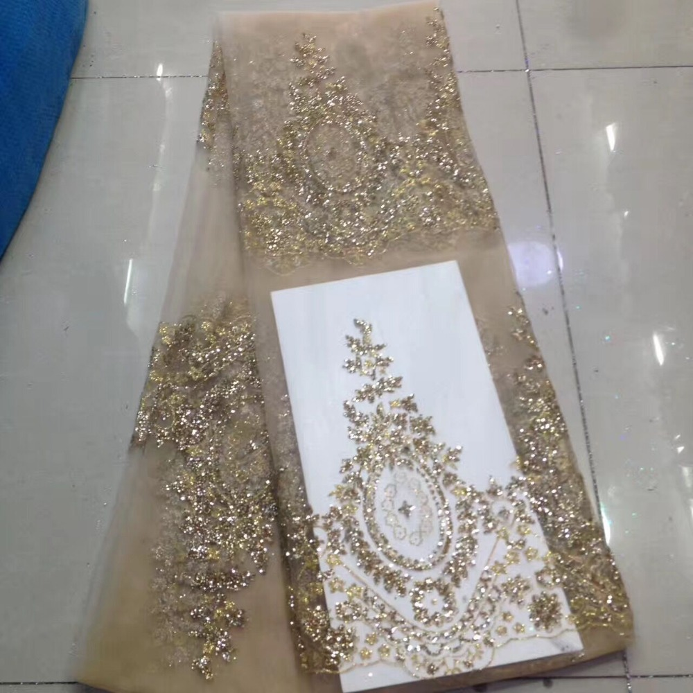 5 yardas de tela de malla de tul de la India africana del brillo de la impresión de la mano del oro LJY 42003 para el vestido de la boda-in encaje from Hogar y Mascotas    1